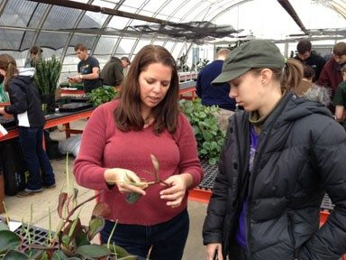 GTS Scholar Mara works with her students in the greenhouse