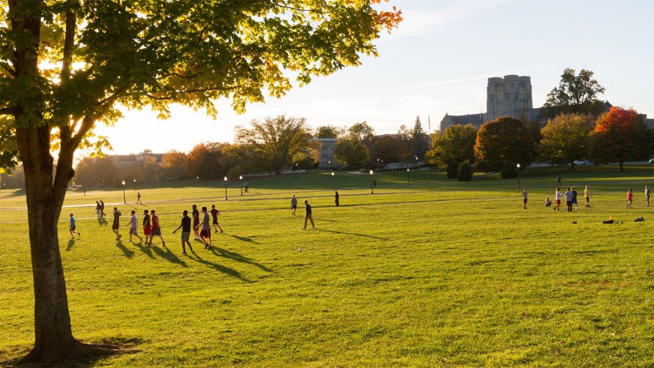 Virginia Tech students on the Drillfield